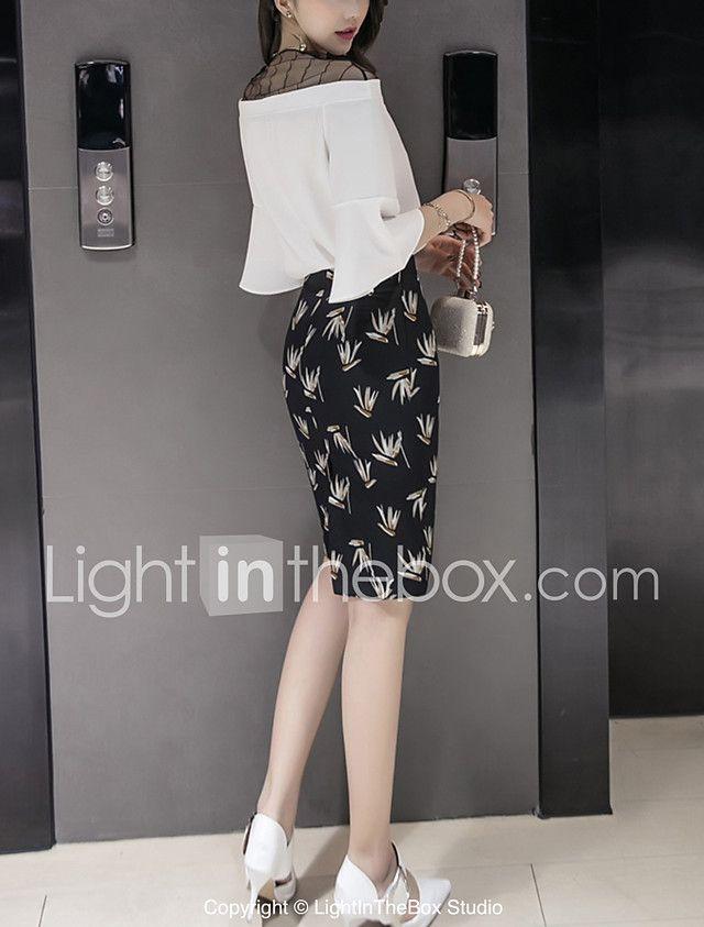 Women's Work Sexy Street chic Summer Blouse Skirt Suits,Print Round Neck ½ Length Sleeve Mesh Split Chiffon Patchwork Micro-elastic 2017 - $19.99