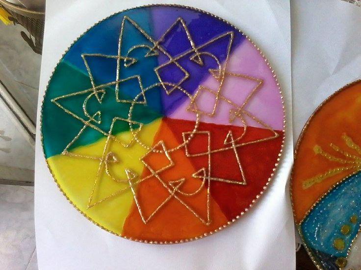 Multicolor  en vidrio, 20 cm de diámetro
