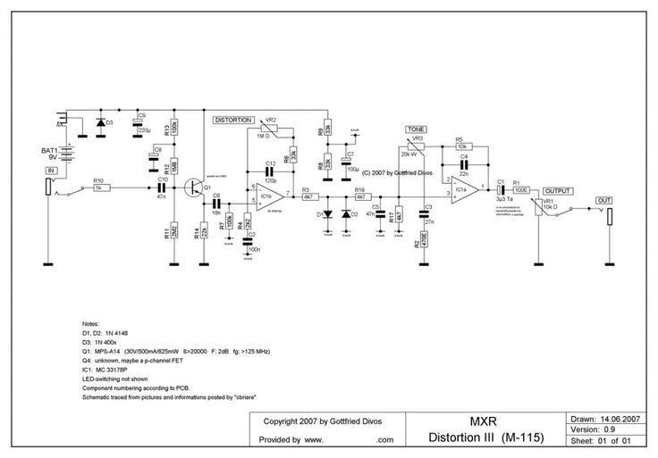 Wiring Diagrams Guitar Effects Pedals Electrical Wiring 93881 Mxr Distortion Iii Plus Wiring