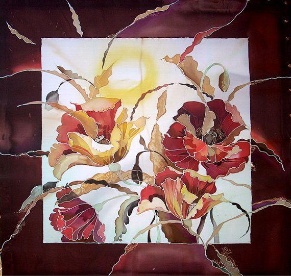Flowers silk painting by RedHelga