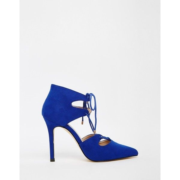 Carvela Kayleigh Ghillie Lace Point Heeled Shoes (€105) ❤ liked on Polyvore featuring shoes, pointy shoes, lacy shoes, carvela shoes, pointed shoes and lace shoes