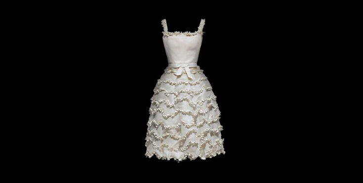 """Dior Muguet  Dior """"Muguet"""" Dress,  as """"one of Monsieur Dior's favorite flowers, the Lily of the Valley, traditionally brings good luck in France on May 1st""""."""