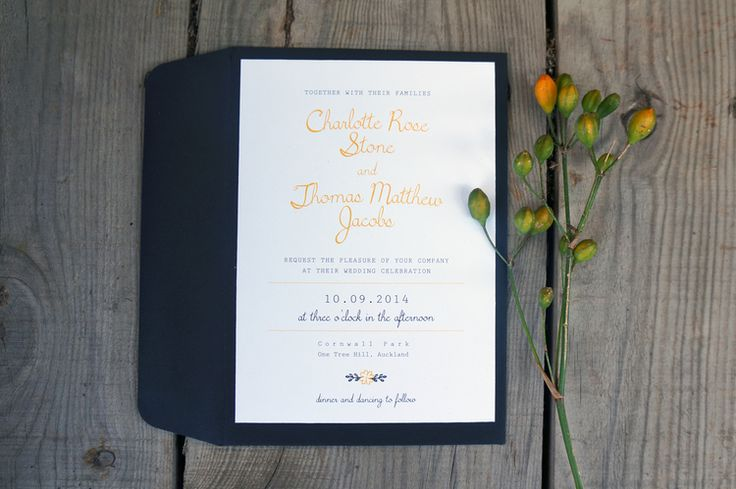 Wedding Invitations - Garden No. 2. Simple typographic design, pops of colour, Belly-band detail.