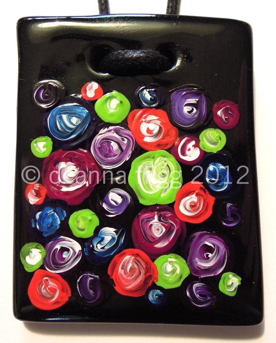 Circles 'n' Spots4 - Original acrylic painting on polymer clay. $45.00, via Etsy.