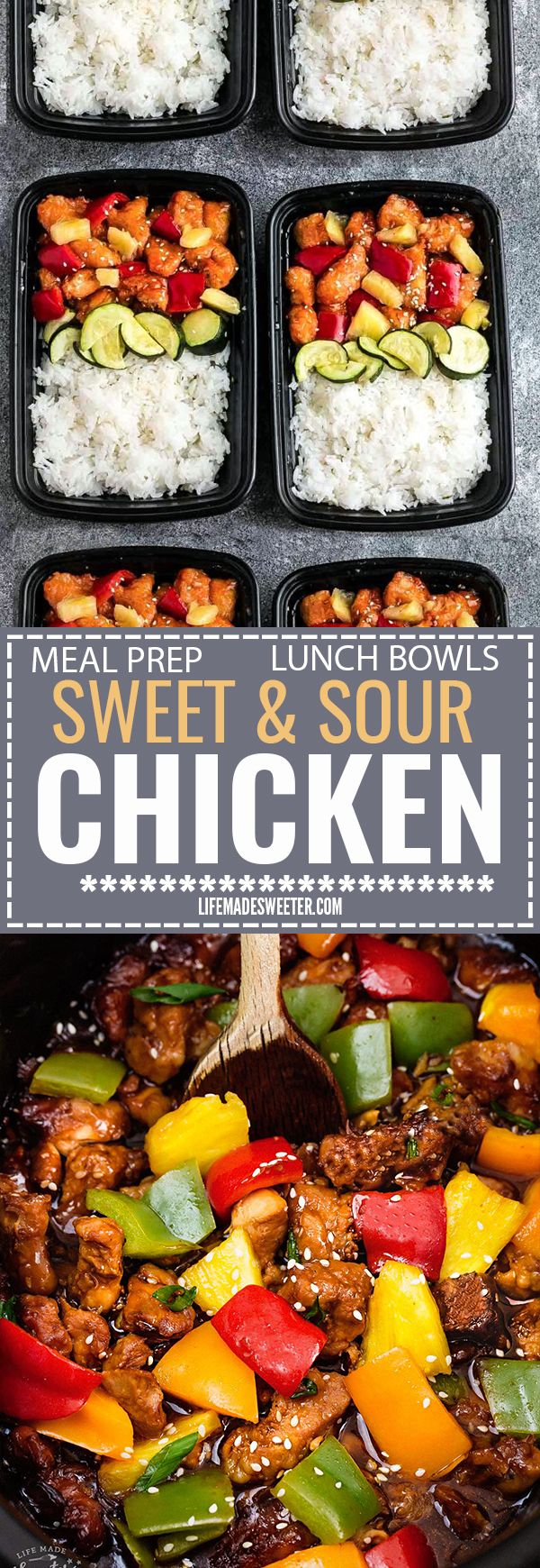 Slow Cooker Sweet and Sour Chicken Meal Prep Lunch Bowls - coated in a sweet, savory and tangy sauce that is even better than your local takeout restaurant! Best of all, it's full of authentic flavors