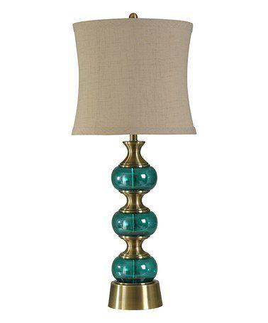 Brass & Teal Glass Table Lamp #zulily #zulilyfinds