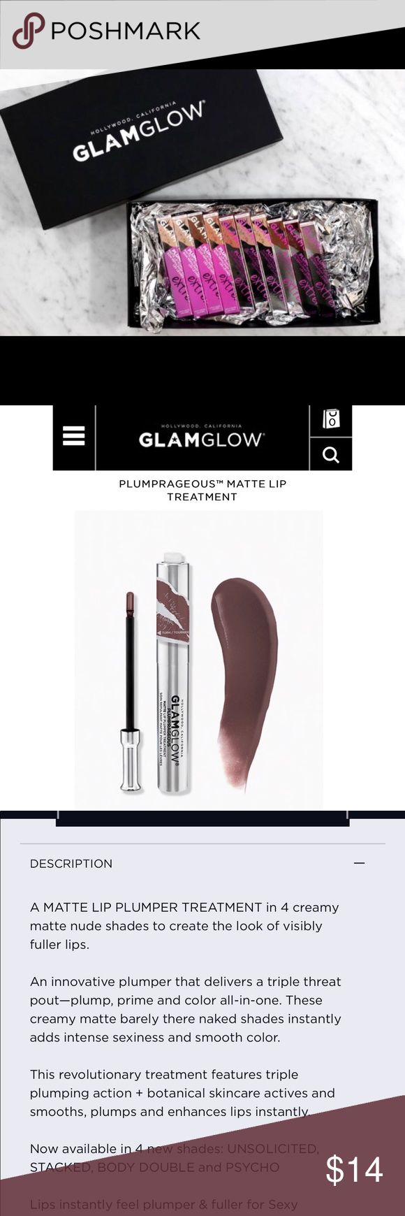 "Glamglow plumprageous matte lip plumper This tingly, mint lippy is awesome for perfect lips (without filler!), SHHHH 🤫I love the tingle when you apply & this REALLY makes a difference, your lips WILL be fatter! & this color! ""psycho"", is a sheer, nude-brown matte that looks gorgeous on anyone! Lasts due to intensified pigment. The applicator is AMAZING, use it over anything! trying is believing! You won't be disappointed w/glamglow! NEW/UNUSED/FULL SIZE. price FIRM unless…"