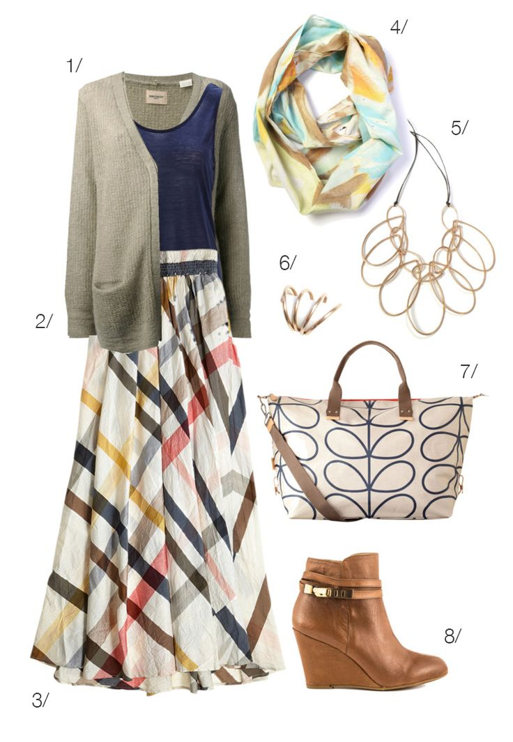 maxi skirt for fall with boots, scarf, statement necklace // click for outfit details