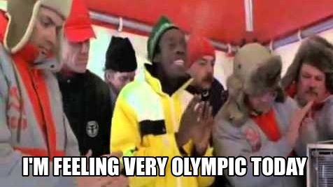 "Cool Runnings. Sanka. Jamaica bobsled team. ""I'm feeling very Olympic today, how bout you?"""