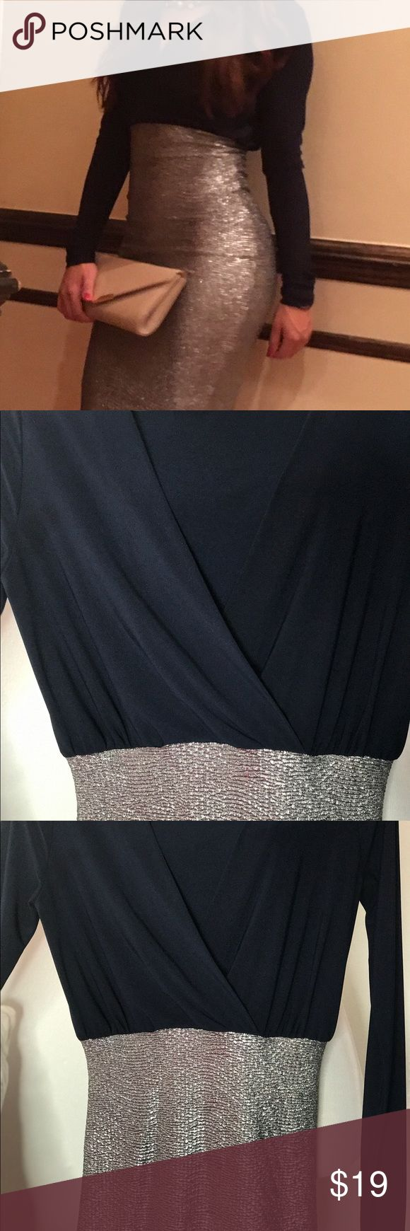 Form fitting long sleeve dress This form fitting navy and silver dress is perfect for a night out on town or a wedding event. It can be paired with a beautiful necklace and some fancy heels. It is a bodycon dress with slip dress underneath for extra coverage. Charlotte Russe Dresses Long Sleeve