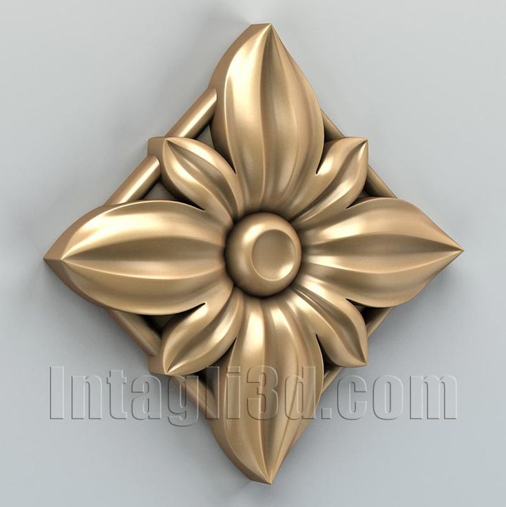 3D model for CNC routers and 3D printers (art. Square rosette 008)