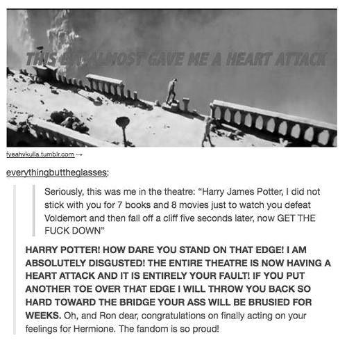 """That's exactly what I was thinking in the theater!! """"Great, he's finally defeated Voldemort and now he's gonna stumble off a bridge."""""""