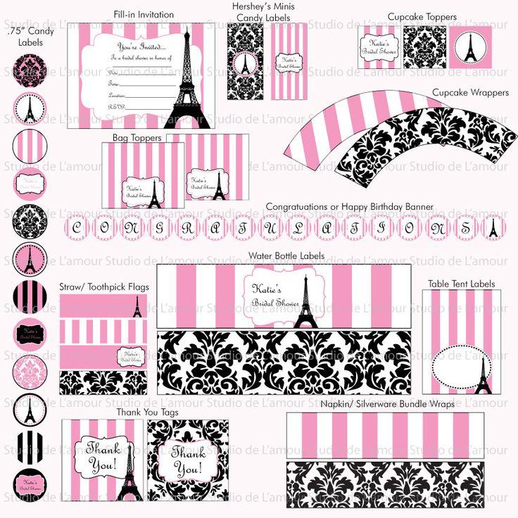 PRINTABLE Paris Theme DIY Party Kit Birthdays/ Bridal by DeLamour