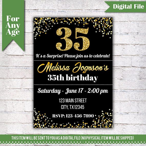 35th birthday invitation birthday party