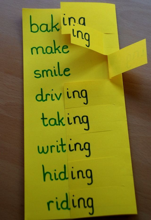 Home-made learning aid for helping kids to learn that you drop the e when you add ing to your verb