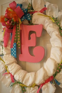 diaper wreath (I know it is a girl theme is cute)