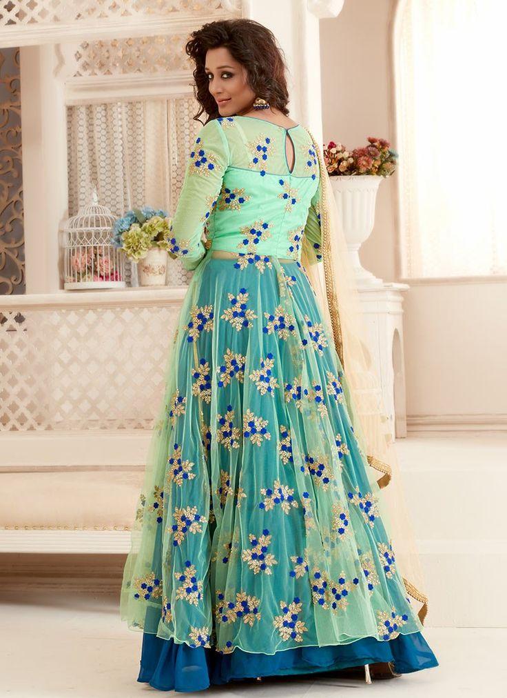 Bollywood Vogue Mint Green Anarkali Lehenga set