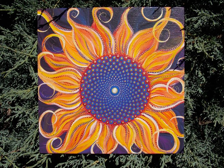 Wild Sunflower Painting, Mandala, Sacred Geometry, Dot Painting, Sunflower, Wildflower, Art by Kaila Lance, 8x8 inch Canvas Board by KailasCanvas on Etsy