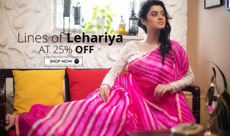 A visual interpretation of '#waves of water and cool air', #Lehariyasarees are traditional tie and dye #sarees from colorful #Rajasthan.