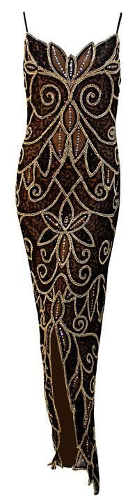 Viste Bob Mackie 1stdibs.com - Is that an OWL I see on the front of the dress? Does that mean wearing this dress makes you look smart? Or just smarter?  :-)