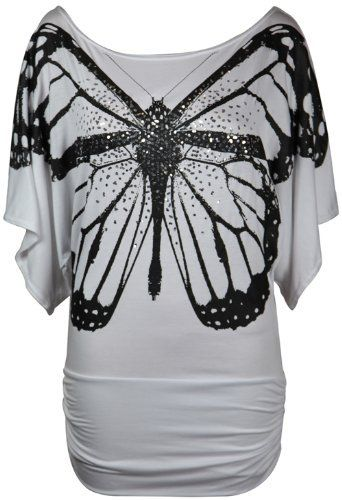 New Ladies Short Sleeve Glitter Butterfly T-Shirt Womens Stretch Gathered Batwing Top Plus Size Purple Hanger, http://www.amazon.co.uk/dp/B00BQGODR8/ref=cm_sw_r_pi_dp_0b2bsb1G2B32B