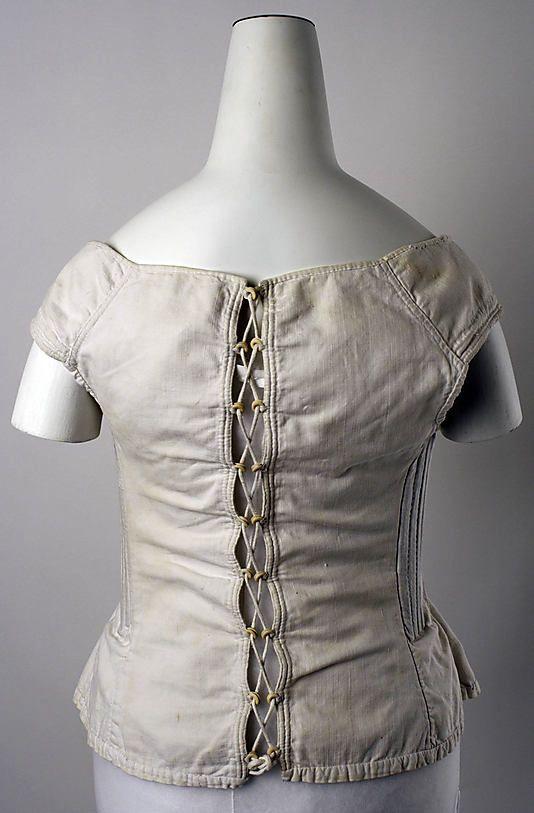 Corset Date: ca. 1830 Culture: American Medium: cotton Dimensions: length at CB: 16 in. (40.6 cm)