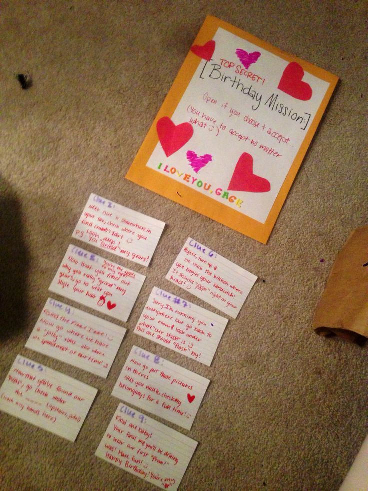 Did a scavenger hunt for my boyfriends 18th birthday! Hoping he loves it! I'm probably more excited than he is! :)