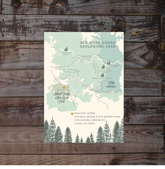 Map hand drawn map wedding map event map printed maps by Annamalie