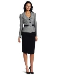Kasper Womens Unmatched Tweed Jacket With Crepe Skirt