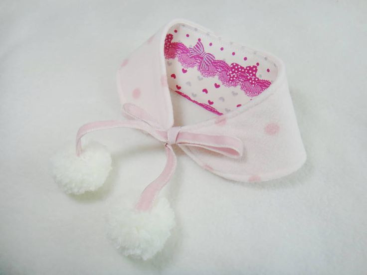 Dog bandana with white pom pom Valentine hearts butterflies bows and lace effect Peter Pan collar for small dogs and puppies ( size SM- SL). $12.00, via Etsy.