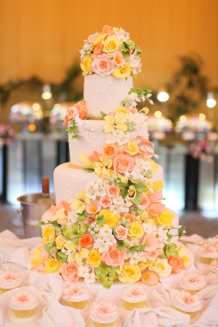 Cake Artist Judy Uson : 26 best Peach and yellow wedding images on Pinterest ...