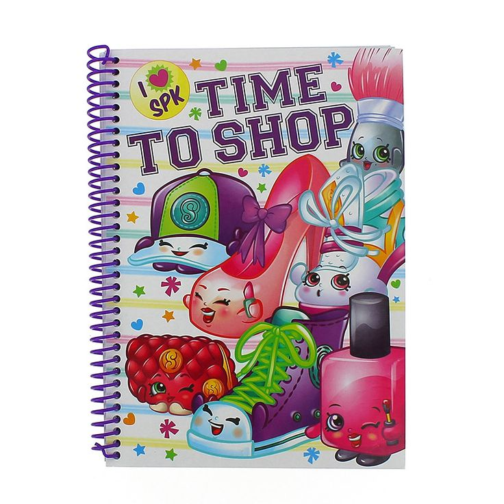 Shopkins A5 Hardback Notebook. Once you shop, you can't stop! This kids hardback notebook is decorated with your favourite Shopkins characters