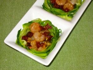 Zucchini Nests with Baby Shrimp