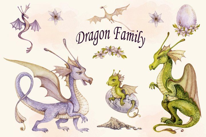 Watercolor Dragon Family Clipart Png Set Cute Baby Dragon 1150269 Elements Design Bundles In 2021 Dragon Family Clip Art Baby Dragon