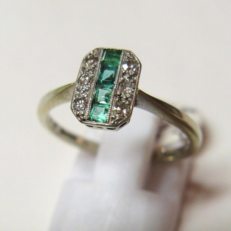 Vintage 1930's Art Deco 18ct Gold and Platinum Emerald and Diamond Ring
