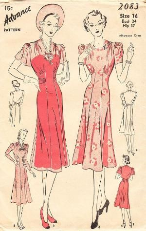 Vintage 1930's Advance Sewing Pattern No2083 by daisyepochvintage, $25.00 by tabitha