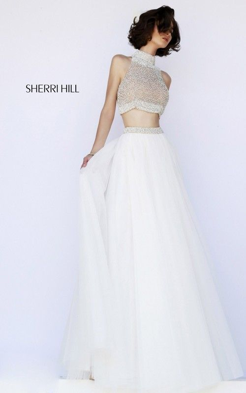 Beaded Two-Piece Prom Dress Ivory Sherri Hill