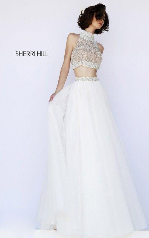 Beaded Two-Piece Prom Dress Ivory Sherri Hill