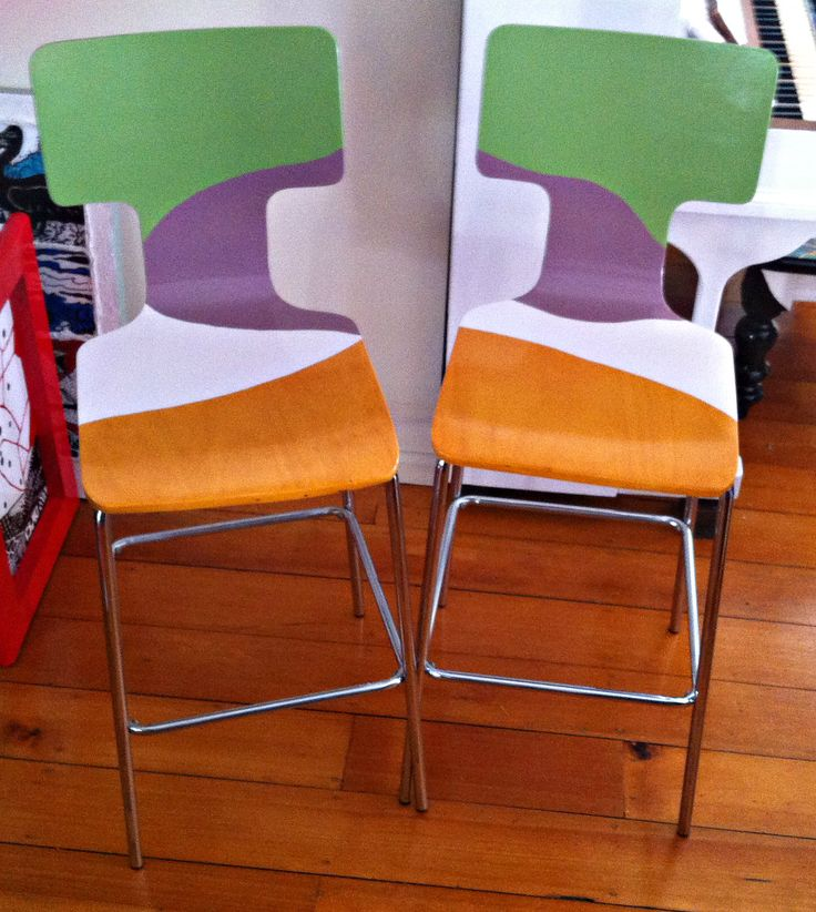 This pair of bar stools was in beautiful condition, I loved the main honey colour, but wanted to create a funky new look. What do you think, is it too funky? I sold these via eBay. Check out my Facebook Page: Bronnie Brasch Designs for the latest news on what I am creating.