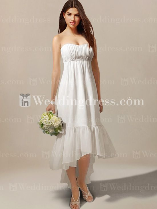 Summer strapless chiffon bridal dress bc017 summer for Strapless summer wedding dresses