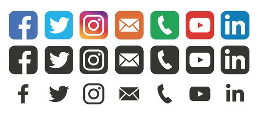 Collection Social Media Logo Facebook Twitter Instagram Youtube Linkedin Vimeo Social Media Icons Real Social Media Logos Social Media Icons Media Icon