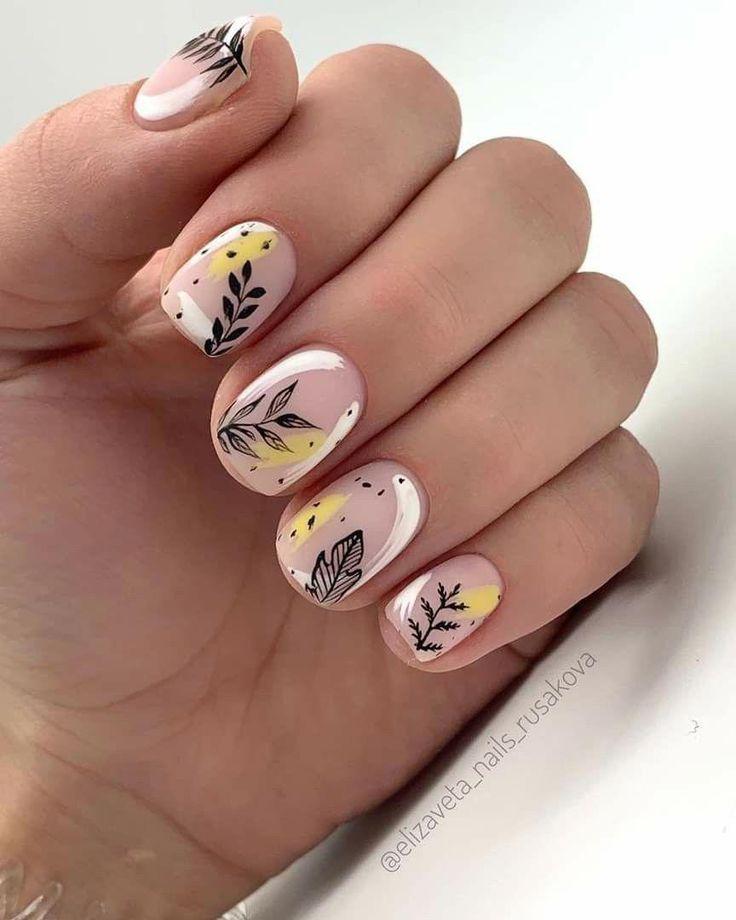 Fall nail art on short nails❤❤❤ #autumnnails