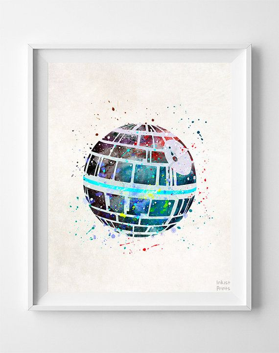 Star Wars Present Death Star Print Star Wars Print por InkistPrints