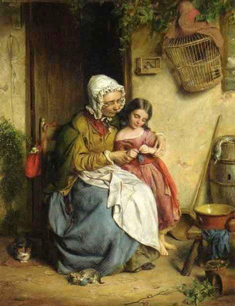 The Knitting Lesson by John Thomas Peele