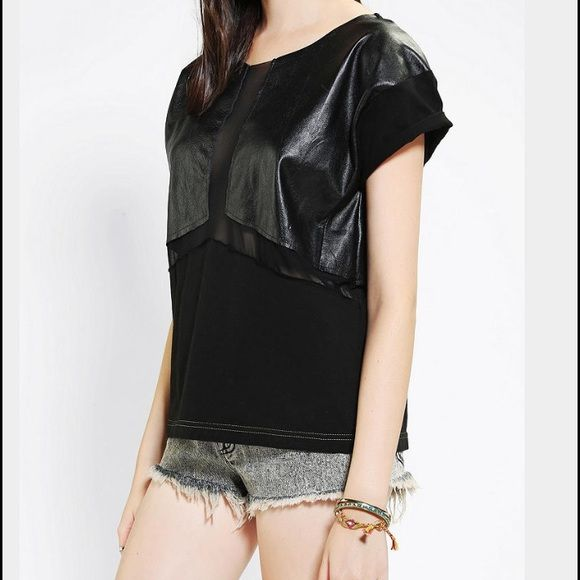 Urban Outfitters Urban Renewal Tee Urban Outfitters  Urban Renewal  Chiffon and Faux Black Leather Tee  Sheer Mesh Panel  Black  New without tags  Size Medium  Made in the USA  From Vintage Fabrics Urban Outfitters Tops Tees - Short Sleeve