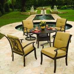 """Cordova Cushioned Dining Groups - 90"""" Rectangular Dining Table with 8 Dining Chairs - Aluminum Patio Furniture by Woodard. $6299.00. Aluminum Cushioned Dining Groups - 90"""" Rectangular Dining Table with 8 Dining Chairs. Visit our site for Cushion Color and Aluminum Finish options. If comfort and style is the goal for your outdoor space, it would be hard to best the Cordova Cushion collection.  This Colonial design standard is highlighted by its louvered back seating an..."""