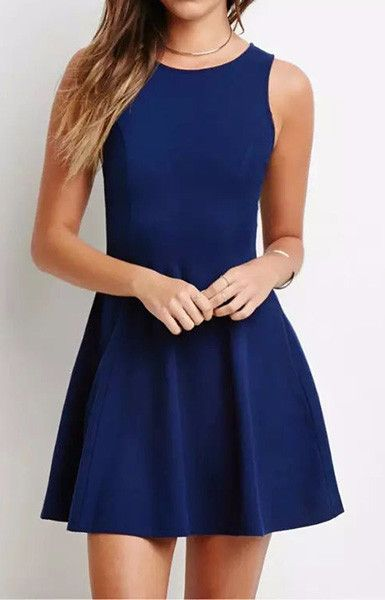 Blue Basic Mini Dress – Trendy Road
