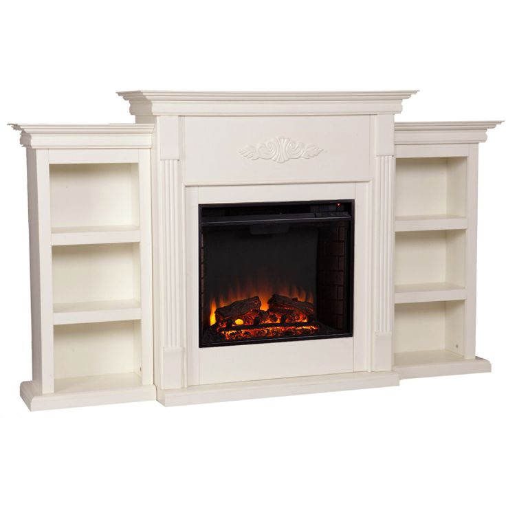 Update your decor with a classic ivory electric fireplace, ideal for a stylish alternative to an open flame. This functional fireplace features a bookcase on either side for decorative or storage purposes and a pretty eye-catching motif to the front.