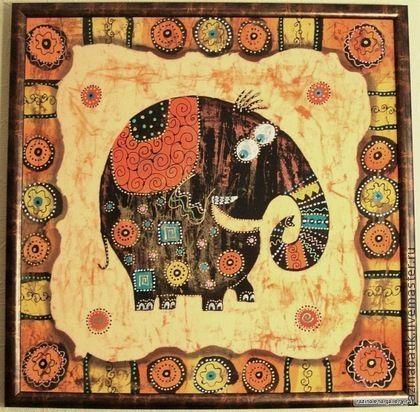 Слоник с орнаментальной рамкой (батик панно) - оранжевый,слон,орнамент