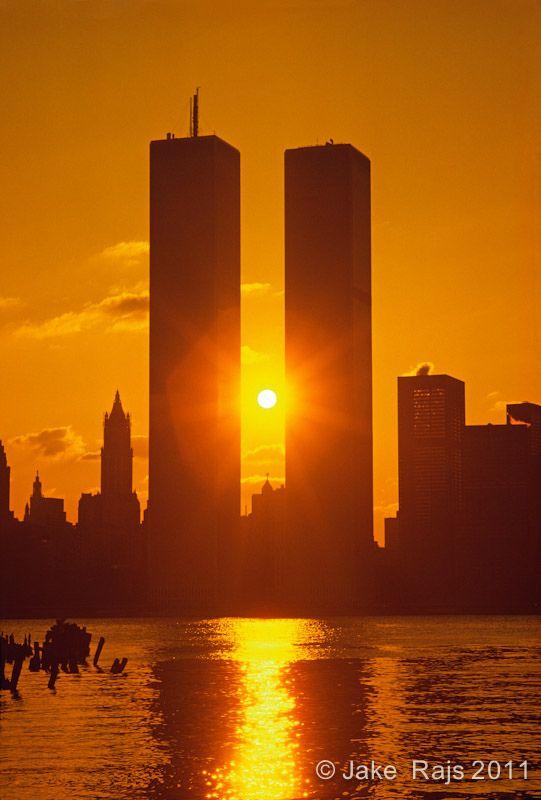 ☀NYC, NY, Sunrise Between Twin Towers, World Trade Center, designed by Minoru Yamasaki, International Style II by Jake Rajs*